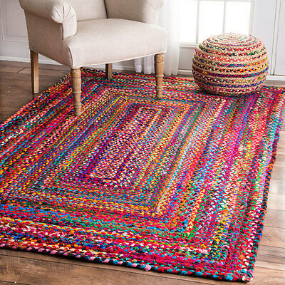 2 Pcs Indian Cotton Rectangular Braided Rugs 2X3 Reversible Boho Floor Mat Art