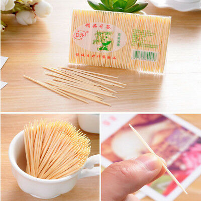 100X Two Heads Wooden Stick Bar Bamboo Toothpick Cocktail Snacks Food Picks