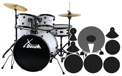 Fusion Drumset Drumkit Set Toms Snare Bassdrum Cymbals Pedal Stool Silencer Pads