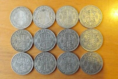 12 x British Silver Halfcrown Coins 1920-1946 VF Grade All Different Dates.