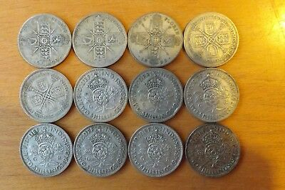 12 x British Silver Florin Coins 1920-1946 Very Fine Grade Different Dates.