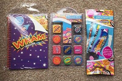 RETRO SWEETS NOVELTY STATIONERY + 10pk ERASER SET And NOTE BOOK New