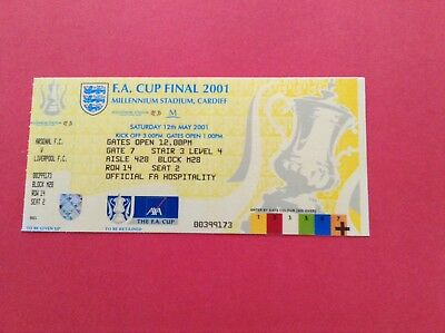 Arsenal Reproduction Fa Cup Final Match Ticket 2001