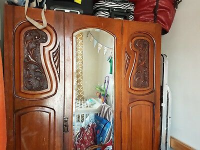 wardrobe vintage walnut heavy