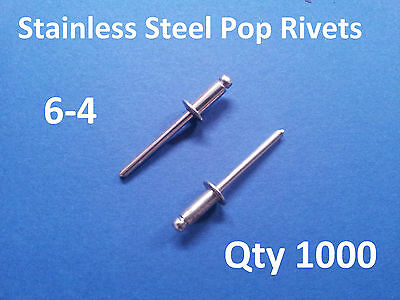 """1000 POP RIVETS STAINLESS STEEL BLIND DOME 6-4 4.8mm x 10.8mm 3/16"""""""