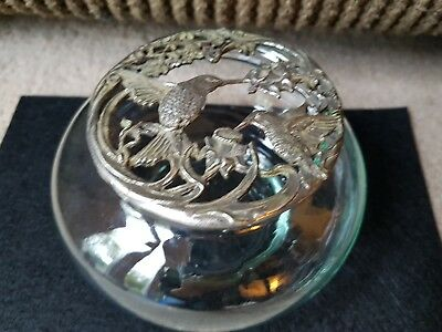 Vintage Glass and Pewter Potpourri Bowl Jar/ Pewter Rose/ Bath Salts Dish/ Candy