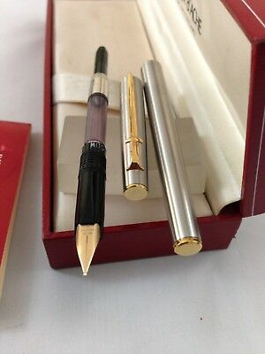 Caran-D-Ache Madison Steel Gold Trim FP 14k Med with converter Box paper NEW