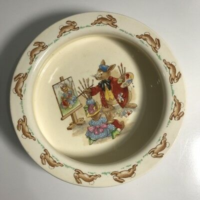Vintage || Royal Doulton England || Bunnykins ' The Artist ' Childs Bowl 1953