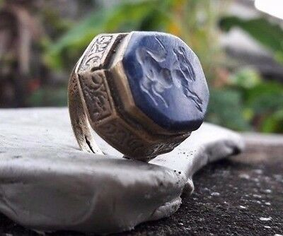 Old Rare Islamic Intaglio  Persian Lapis Agate Stone Stamp Ancient Ring 7 US