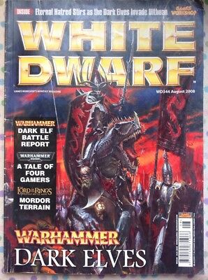 White Dwarf 344 August 2008 25 Warhammer Dark Elves, 40k LOTR Strategy Battle GW