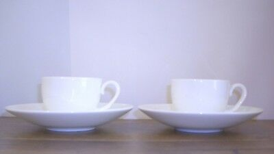 2 x Wedgwood Solar Espresso Cups & Saucers White Bone China.