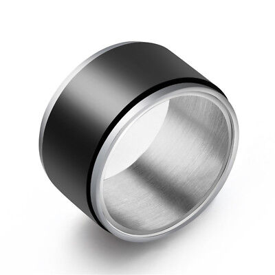 12mm Black Plating Spinner Band Men's 316L Stainless Steel Silver Ring Size 8-11