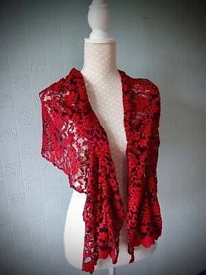 red and black lace shawl gothic wrap steampunk goth stole Halloween costume