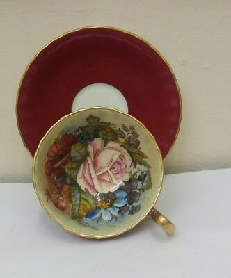 Aynsley Cup And Saucer Roses-Signed Bailey