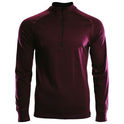 Isobaa Mens Merino Quarter Zip 200mg top Large Burgundy Wine BNWT RRP £75