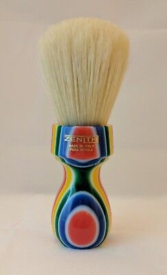 Retro Multicolored Resin Boar Shave Brush. 27 x 57 mm Knot. Made in Italy. B26