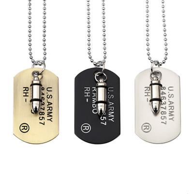 halskette dog tag bullet milit r herren kette hundemarke. Black Bedroom Furniture Sets. Home Design Ideas