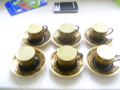 royal worcester deco coffee cans 6 cups and saucers