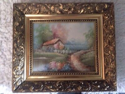 Old Oil Painting Signed Hagam In Antique Style Gilt Frame
