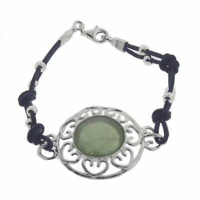 Ancient Roman Glass Bracelet with Heart Design Sterling Silver Dark Blue Cord