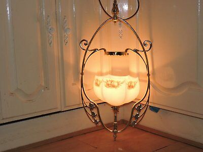 Antique gas Art Nouveau ceiling lamp