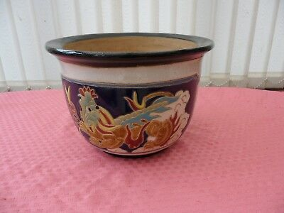 VINTAGE c1960 INCISED JARDINAIRE JAPANESE DRAGON PANELLED PTRN MAJOLICA MARKED H