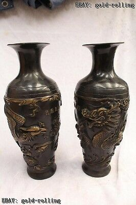 "12""Chinese Folk Bronze carved excellent lifelike Dragon phoenix Vase Pair"