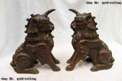 "8""Chinese Purple Bronze handwork carved excellent lifelike unicorn Statue Pair"