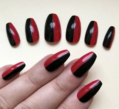 Painted False Nails STILETTO (Any) Harley Quinn Fancy Dress Black Red HALLOWEEN