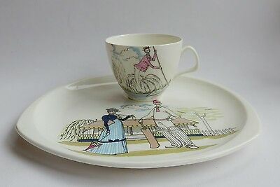 Vintage 1950's Old Foley China Tennis Plate & Cup Set. By Maureen Tanner.