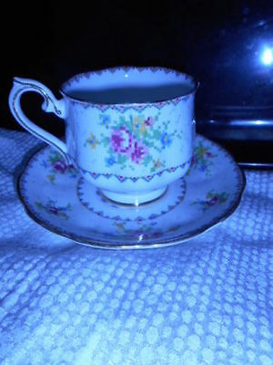 Vintage Original Owner  Royal Albert China Petit Point Footed Cup & Saucer