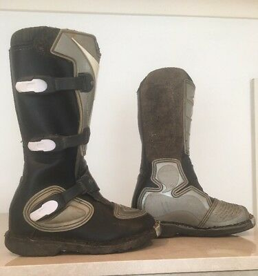 Motorcross Boots Mx Black Leather And Thermo Plastic   Size 33