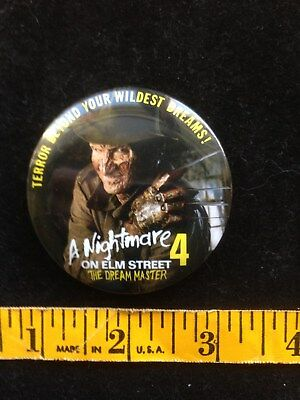 Vintage Nightmare On Elm Street 4 Pin Promotional 1988 The Dream Master Scary!