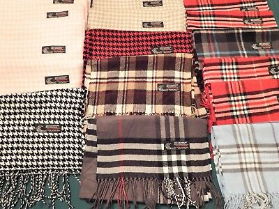 17 Pc Wholesale Lot Italy Design Cashmere / Viscose Plaid Fringed Scarfs - New