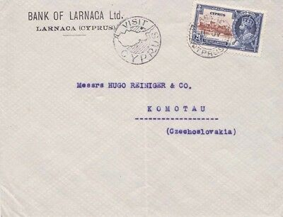 Cyprus 1935 Cover 1 1/2p Jubilee adh from Larnaca.Tourist cachet Fold in centre.