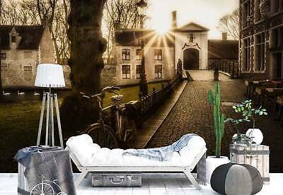 Village Cobblestone Alley Houses Pond Photo Wallpaper Wall Mural (1X-124931)
