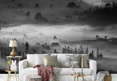 Trees Temples Misty Sunlight Photo Wallpaper Wall Mural (1X-909695)