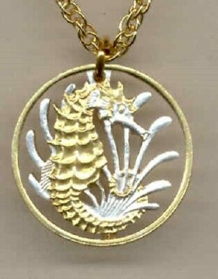 Singapore 10 Cent Sea Horse/Sea Weed Cut Coin Gold Silver Pendant Holiday Gift