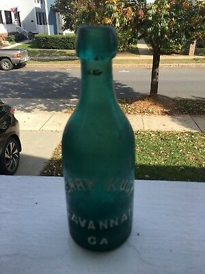 Teal Green Henry Luck Soda Bottle Savannah GA