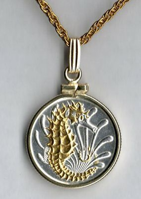 Singapore 10 Cent Sea Horse & Sea Weed Coin Gold & Silver Pendant w/ Necklace