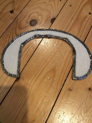 Vintage Pearl, Silver Bugle Bead And Silk Detachable Ladies Collar