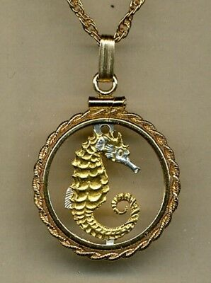 Singapore 10 Cent Sea Horse Cut Coin Gold on Silver Pendant w/ Necklace Gift Box
