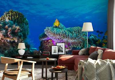 Submarine Coral Reefs Golden Fishes Photo Wallpaper Wall Mural (1X-1132974)