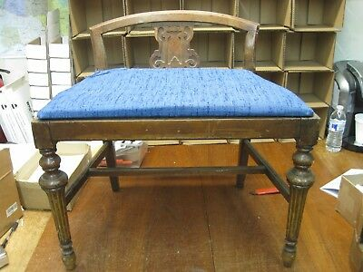 Antique Chair Vintage Low Back Vanity Seat with Cushion