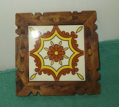 Vintage 60's/70's Mexican Tile Trivet in Carved Wood Frame-Brown & Yellow Tile