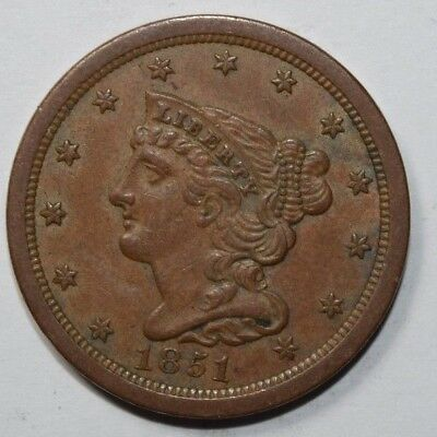 1851 Braided Hair Half Cent 4i