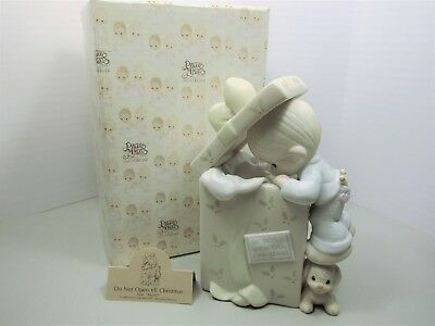 "PRECIOUS MOMENTS ""Do Not Open Till Christmas"" 522244 plays "" ToyLand"" music box"