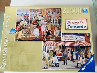 """Ravensburger 2 X 500 Puzzles """"the Coffee Bar Brighton"""". Completed Once, Mint Con"""