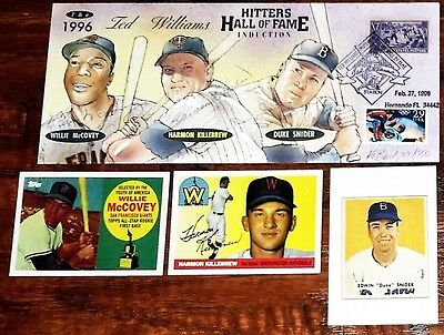4 AUTOs WILLIE McCOVEY, HARMON KILLEBREW, DUKE SNIDER JSA #855 FDC TED WILLIAMS