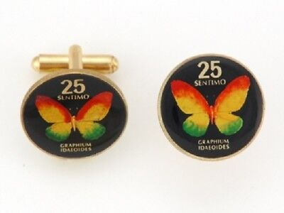 Philippines 25 Sentimos Butterfly Coin Hand Painted Cuff Links Gift Item w/ Box